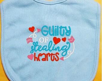 Valentine Baby Bib - Guilty of Stealing Hearts baby bib, custom baby bib, infant baby bib, girl bib, boy bib, cotton baby bib, handmade bib