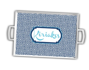Monogrammed Tray - Custom Tray with handles - Personalized Tray - Greek key pattern serving tray - Hostess gift - Wedding gift idea