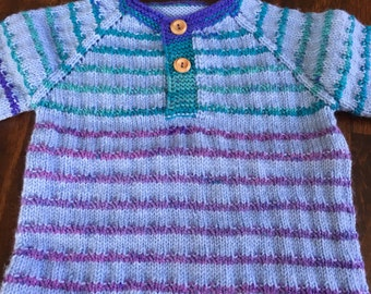 Multi-color handmade baby sweater with wooden buttons
