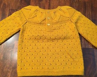 Hand knit woolike Baby Sweater/Cardigan in mustard yellow