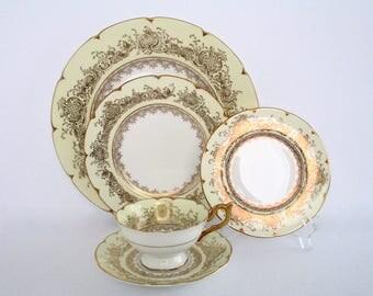 4 Place Setting, Rare Coalport England Victoria Regina Bone China Dinnerware Set, Vintage Tableware