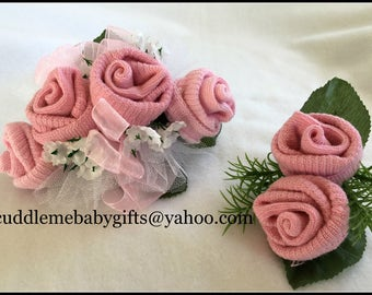 Baby Girl Baby Shower Baby Sock Corsage Baby Shower Decor Baby Shower Gift Pink Socks Daddy Boutonniere