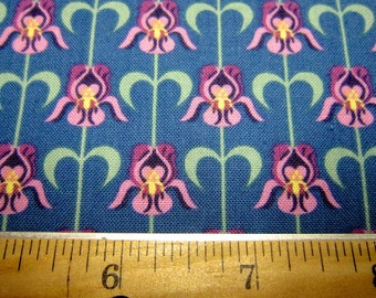 Teal Floral Cotton Called Tennessee Iris by In The Beginning Fabrics