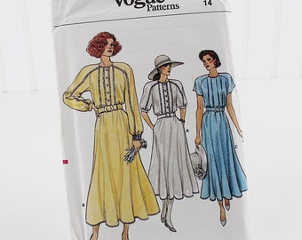 Button Front Shirt Waist Dress Pattern, Uncut Sewing Pattern, Vogue 9908, Size 14