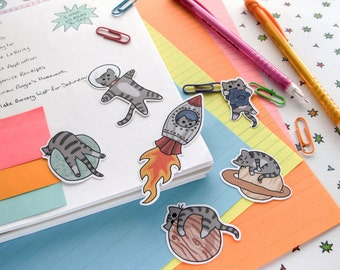 Cute Cat Stickers, Paper Stickers, Journaling, Sticker Flakes, Cute Cats, Funny, Humor, Silly, Stationery, Scrapbooking, Outer Space I