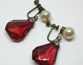 Vintage 1920s Art Deco Faux Pearl & Cranberry Glass Drop Earrings