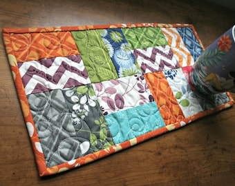 Quilted Table Runner, Modern Table Runner for a Small Space, Rectangle Candle Mat, First Home Housewarming Gift, Gift for Teen Girl