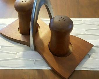 Mid Century Teak Salt & Pepper Shakers with Holder
