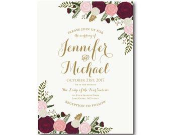 Vintage Floral Wedding Invitation, Fall Wedding, Vintage Floral, Floral Wedding, Vintage Wedding, Vintage Floral Invitation #CL157