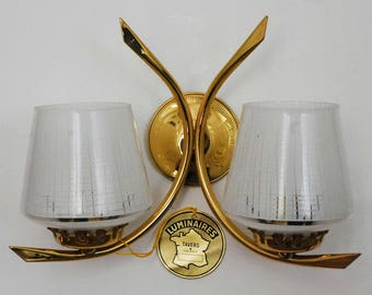 Pair of double sconces, Vintage 1950 New from old stock.