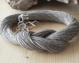 Linen Necklace Knot Necklace Linen Fiber Necklace Natural Linen Linen Cord Necklace Beach Jewelry Eco Style Jewelry Braided Necklace Grey