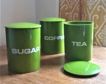 Vintage Danish 1960s/70s kitchen canisters, coffee tea sugar canisters.  Bright mossy green!  Lidded canisters.