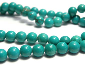 Round Sinkiang Turquoise Gemstone Beads - 6mm