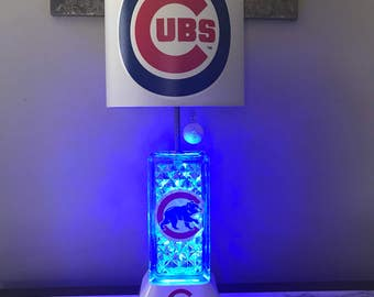 Chicago Cubs electric glassblock night light Lamp.with blue lights inside block. Mlb sports team.
