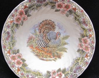 "Set of Two Queen's Myott Thanksgiving Turkey Vegetable Serving Bowls 9.5"" Round"