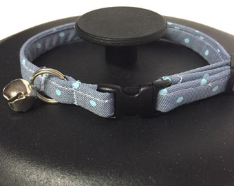 Cat collar, blue cat collar, polka dot cat collar, adjustable cat collar, chambray cat collar, breakaway collar, pet collar, furbaby collar