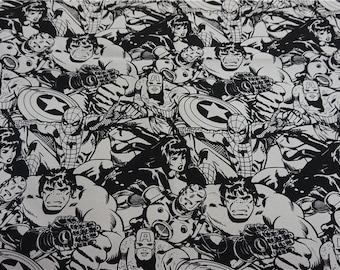 90x140cm/35x55Inch Black and White Avengers Superhero Hulk Black Widow Captain America Spiderman Iron Man Marvel Comics Fabrics