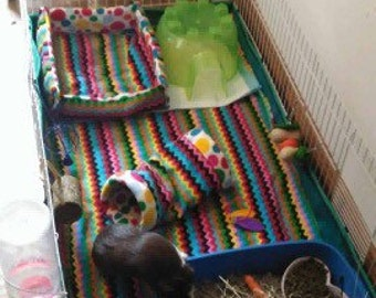Custom made to order midwest cage fleece liner with wadding (guinea pigs - cage not included)