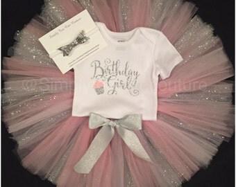 Birthday Girl Tutu Set, Pink and Silver Tutu, Birthday Girl Shirt, Birthday Outfit, 1st birthday, Smash Cake Outfit, One, Two, Birthday tutu