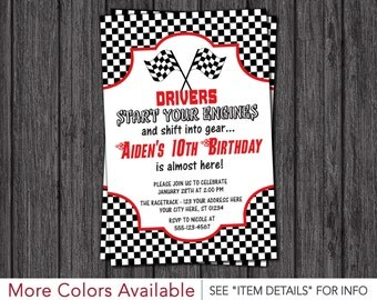 Race Car Birthday Invitation • Racing Birthday Party Invitations • Racetrack