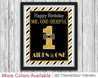 "Mr. ONEderful Party Sign - Printable Mr One-derful Birthday Party Decorations - 8""x10"" Tuxedo Welcome Sign - DIY Digital File"