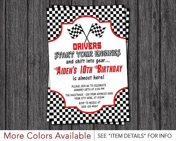 Car Racing Shoes >> Race Car Birthday Invitation Racing Birthday Party