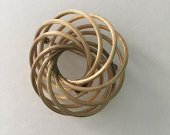 Signed Alice Caviness intertwined Circles 12K Gold Filled Brooch pin