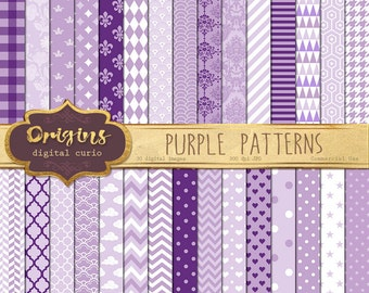 70% OFF Purple Digital Paper, baby shower digital paper, purple patterns backgrounds, scrapbook paper instant download commercial use