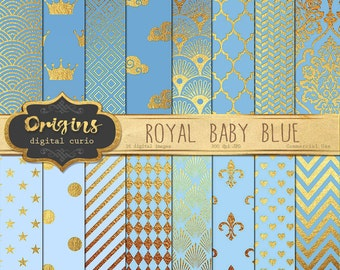 Royal Baby Blue and Gold Foil Digital Paper - 16 Pack Premium Blue Digital Scrapbook Paper pack, baby boy, gold crown digital paper textures