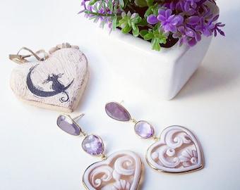 Cameo earrings hearts