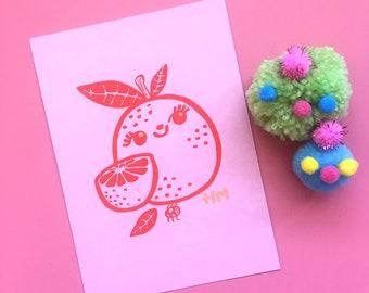original illustration, lemon lover, kawaii, lemon art, limon, affordable art, 5x7, A7