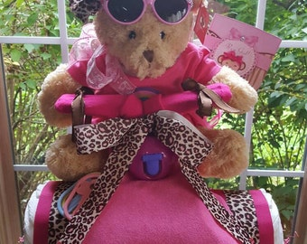 Spyder Trike Cheetah Print Pink/Brown Diaper Cake