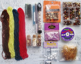 Mega Bead Destash, Grab Bag, Huge Lot, Bead Soup, Frosted Seed Beads, 6mm Miracle Beads, Crystal & Amber Glass Beads, Stretch Magic Cord