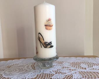 """Column Candle Mather's day Candle Patterned Decorated Candle  Cup Cake  Candle Shoe Pattern Candle 6.5"""" tall  3.75"""" wide"""