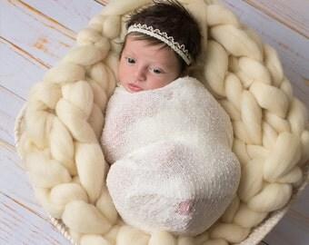 Pearl Headband, Ivory Headband, Halo Headband, Decorative Headband, Newborn Photo Prop, Baby Headband,