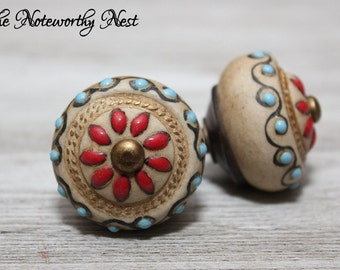 Custom Quantity Knobs / Pulls / Dresser Knobs / Cabinet Knobs / Unique Knobs / Ceramic Knob / Beautiful Knob / Southwest knob / Craft Knob /
