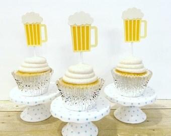 Beer Mug Cupcake Toppers / Cheers & Beers / Cheers to 30 Years / Beer Theme Birthday / Set of 12