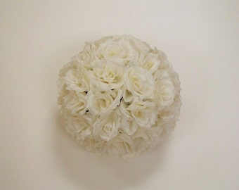 Ivory Rose Flower Ball Pomander Wedding decoration Ball Silk Rose Kissing Ball Faux Flowers/Mutiple sizes/Aisle decor/ Centerpiece