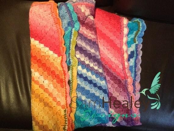 Hand crochet rainbow blanket