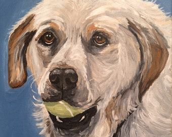Yellow lab with ball art print from original painting, Yellow lab art print
