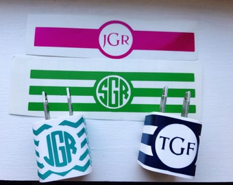 iPhone Charger Decal Wraps - Monogram