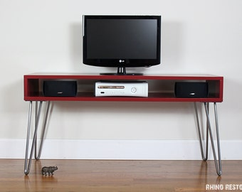 """Customize yours - Low Profile Mid Century Modern Media Console Table  - 14"""" - 18"""" Deep - Choose Your Width and Color - Custom Built"""