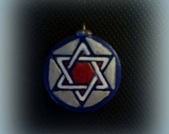 Colorful Star of David Pendant; Silver, Red, White & Blue Star of David