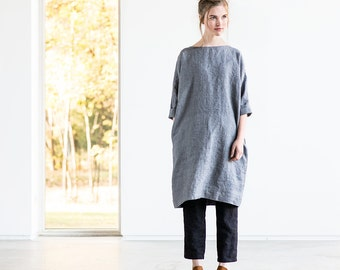 Washed grey linen - wool blend tunic NOVEMBER / Tunic dress in grey linen - wool blend / Linen tunica