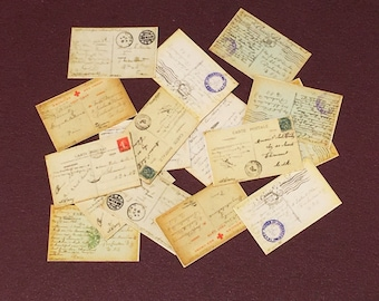 WW1, Dollhouse, Miniature 16 postcards, Detailed, In 1/12 scale, Originals from Soldiers Stationed In Paris Dated 1918/1919, Ephemera,
