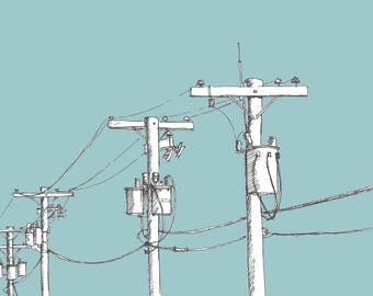 Ink and digital sketch of power lines