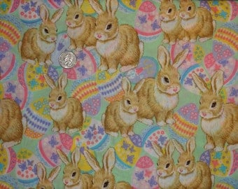 """Easter Bunny Rabbits Pink Lavender JoAnn Cotton Quilting fabric 1 yard + 22"""""""