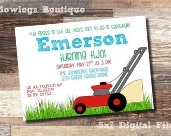"Lawnmower Theme Birthday Invitation 5x7"""