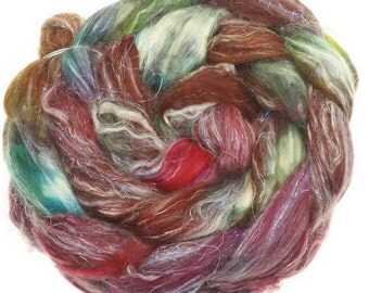 Veggie Mix No. 010 handdyed combed top roving for spinning #17549
