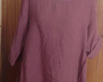 Scoop neck ladies linen tunic